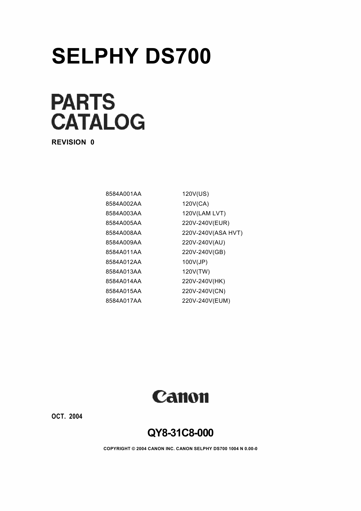 Canon SELPHY DS700 Parts Catalog Manual-1